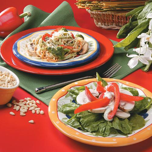 spinach and mushroom salad