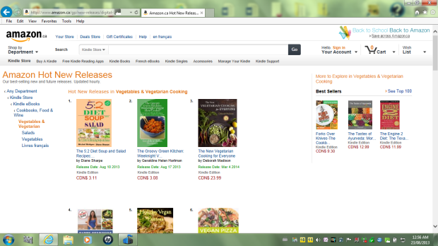 Amazon vegetarian cookbook page august 23